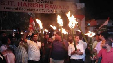 Photo of Assam Congress takes out torch light rally against rising fuel prices
