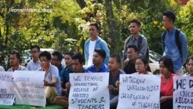 Photo of Manipur University students protest against acting VC's remarks