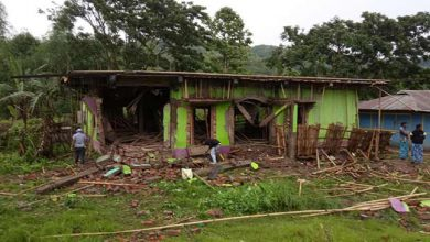 Photo of Blast damages mosque at Kachurthal along Assam-Mizoram border