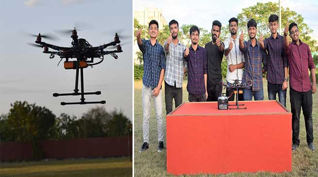 Assam: KU students launched Hexapod drone 'Pushpak'
