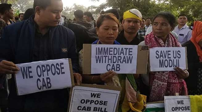 Tripura:protest continues against CAB, govt warns action