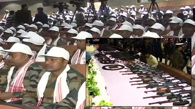Assam: Over 640 cadres of militant groups surrender with 177 arms
